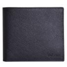 PRADA SAFFIANO 經典 LOGO 防刮皮革八卡對折短夾(黑色)