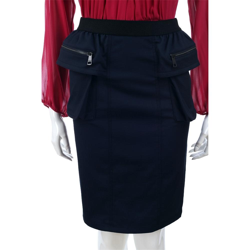 BURBERRY 深藍色大口袋設計及膝裙