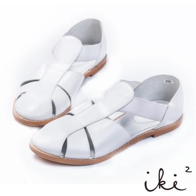 iki2-真皮T字鏤空平底涼鞋 - 清新白