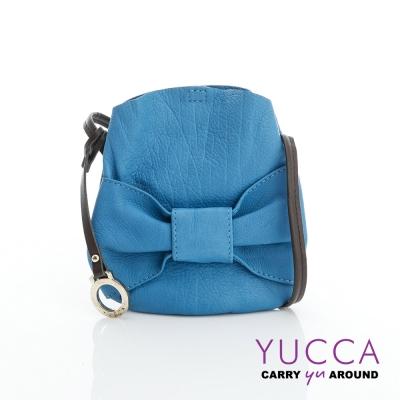 YUCCA - 甜美蝴蝶結牛皮小包-土耳其藍-D013124