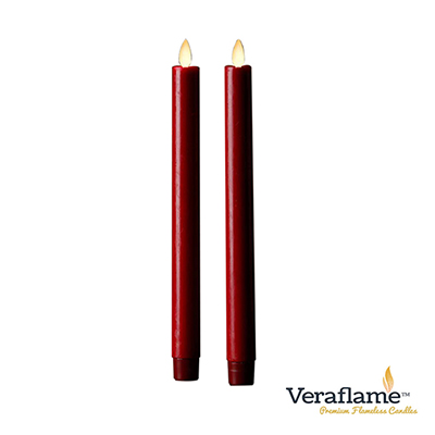 Veraflame 擬真火焰長條蠟燭組- 10吋(紅色)