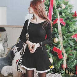 寬領針織撞色滾邊針織洋裝 (黑色)-Q-chic