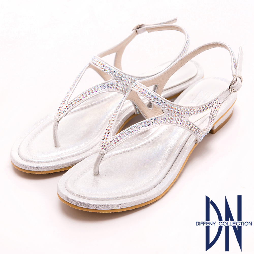 DN 時尚MIT 閃亮金蔥鑽飾夾腳拖鞋-銀