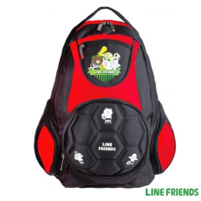 LINE-FRIENDS-足球硬殼造型護脊書包-紅