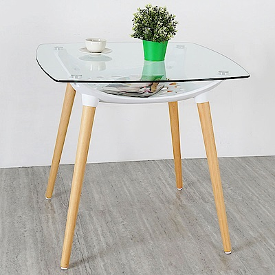 Homelike 柯絲北歐風玻璃桌(優雅白)-80x80x75cm