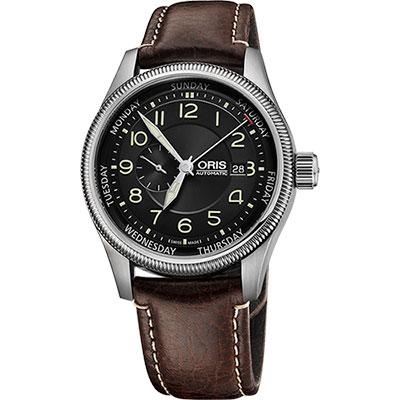 Oris Big Crown 大錶冠小秒針指針式星期錶~黑x咖啡 44mm