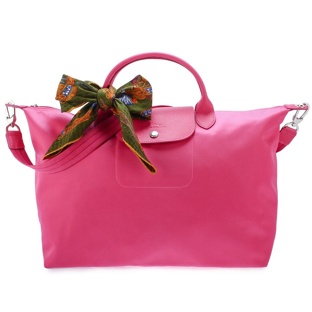 Longchamp Le Pliage Neo短把大型水餃兩用包-櫻花粉加贈帕巾