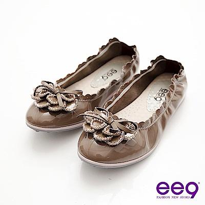 ee9心滿益足-花朵珠鑽羊漆皮超柔軟娃娃鞋-氣質芋褐