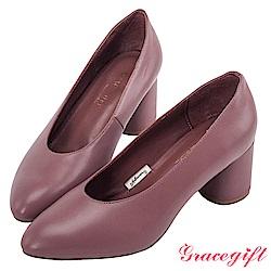 Grace gift-全真皮微尖頭簡約素面跟鞋 深粉