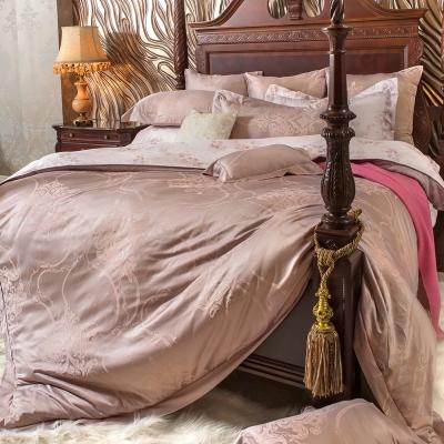 義大利La Belle 優雅旋律 雙人天竹緹印花四件式防蹣抗菌舖棉兩用被床包組
