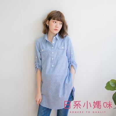 日系小媽咪孕婦裝-哺乳衣~假二件直紋後拼布上衣