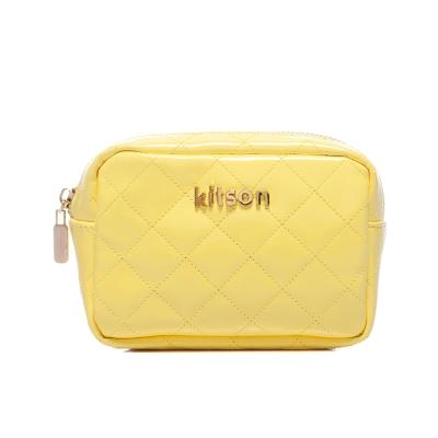 kitson 漆皮菱格紋收納/化妝包-YELLOW