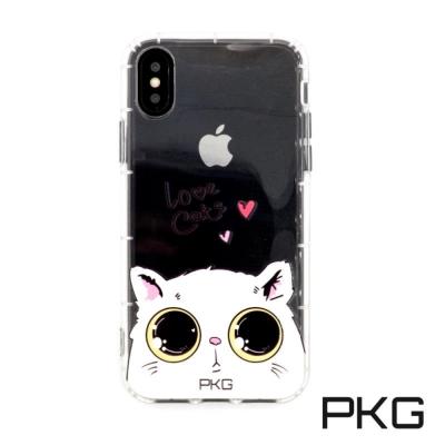 PKG Apple IPhone X 彩繪空壓氣囊保護殼浮雕彩繪-娃娃貓