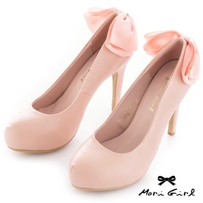 Mori girl 後蝴蝶結緞面高跟鞋 粉