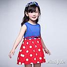 Mini Jule 童裝-洋裝 大圓點拼接純色無袖洋裝(藍)
