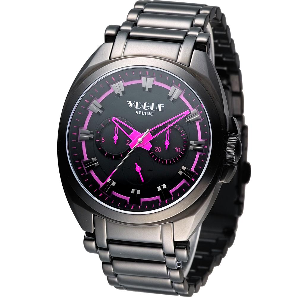 VOGUE 韓式極簡休閒時尚腕錶-黑x桃紅/42mm