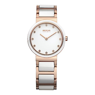 BERING丹麥精品手錶 晶鑽刻度陶瓷錶系列 珍珠母貝錶盤 白x玫瑰金29mm
