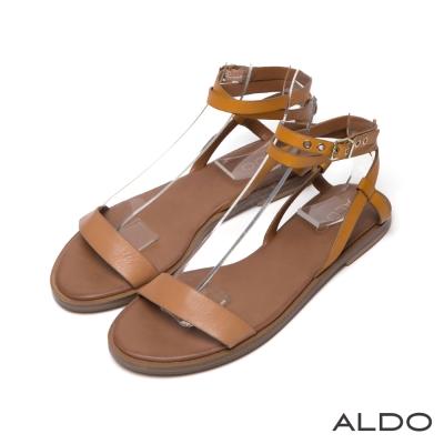 ALDO-復古文青風一字真皮金屬釦帶繞踝涼鞋-咖啡
