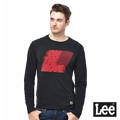Lee ON THE MOVE植絨印花長袖圓領TEE-男款-黑色