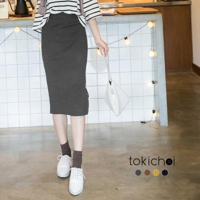 東京著衣 多色開岔綁帶針織直筒裙(共四色)