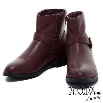 短筒靴MODA-Luxury-簡約單釦環鉚釘沿條牛皮短筒靴-棗紅