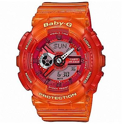 BABY-G 卡西歐透明果凍運動女錶(BA-110JM-4A)-橘/43.3mm