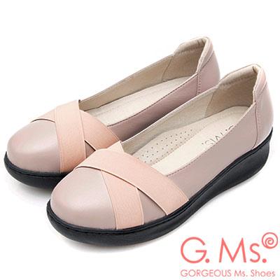 G.Ms. 牛皮交叉鬆緊帶厚底坡跟鞋-粉杏