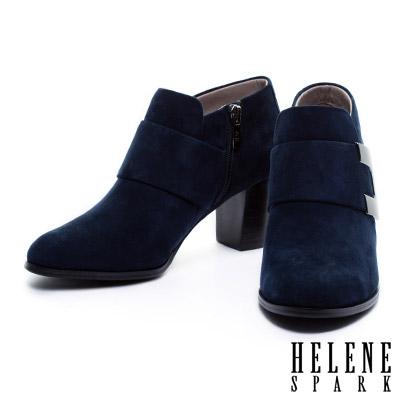 踝靴-HELENE-SPARK-寬版皮帶造型全真皮粗跟踝靴-藍