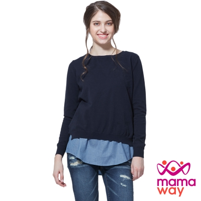 孕婦裝 哺乳衣 造型反穿針織孕哺假兩件上衣(共二色) Mamaway