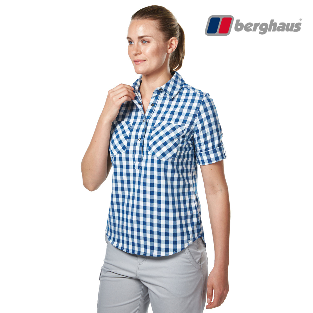 【Berghaus貝豪斯】女款銀離子抗菌除臭抗UV短袖襯衫S06F44藍