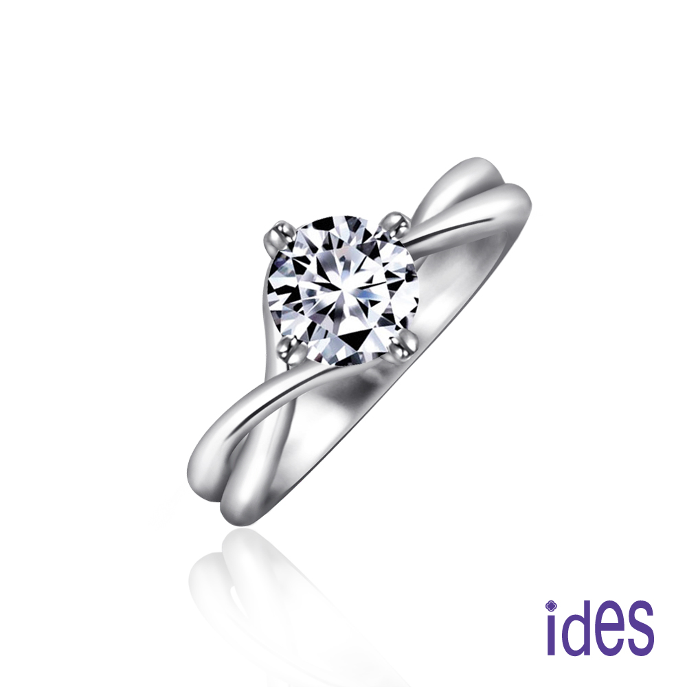 ides 愛蒂思 精選1克拉設計款F/VS2八心八箭完美車工鑽石戒指/交錯