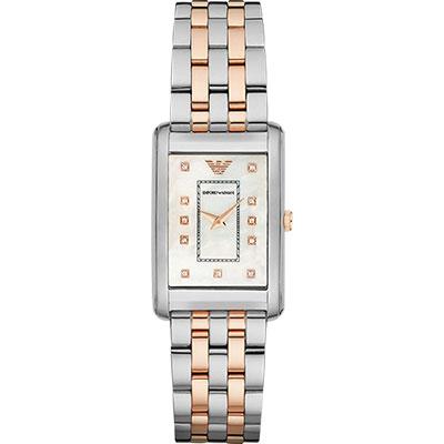 Emporio Armani Ladies 晶鑽石英錶-珍珠貝x雙色版/25mm