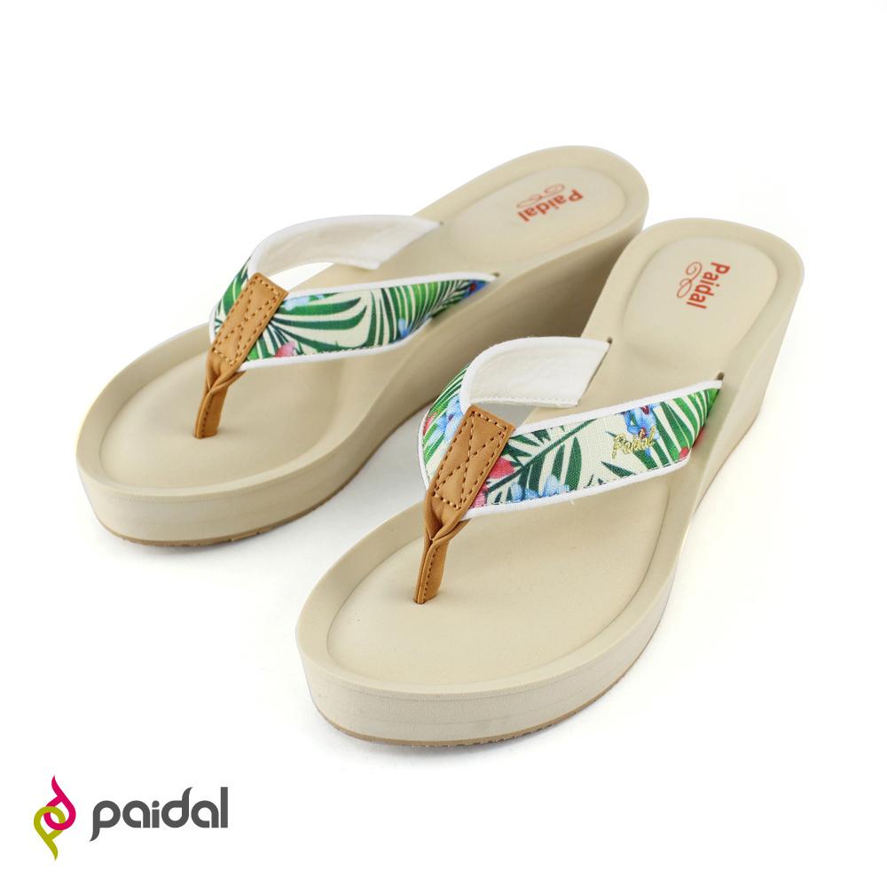 Paidal熱帶花卉膨膨氣墊美型夾腳拖鞋-葉綠