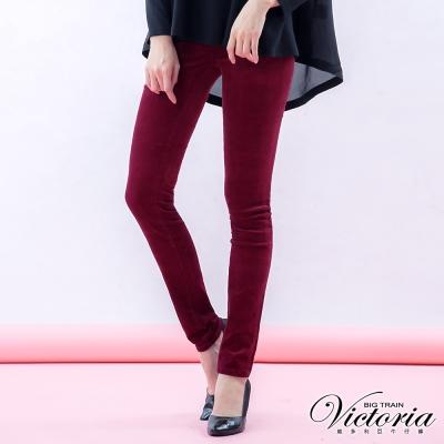 Victoria 彈性燈芯絨窄直筒褲-女-桃紅