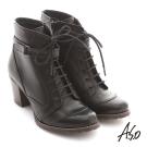 A.S.O 機能美型 軍風綁帶拉鍊粗跟短靴 黑