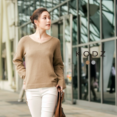 東京著衣-KODZ 高質感柔膚V領針織上衣-S.M.L(共二色)
