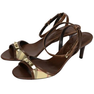 BURBERRY 經典格紋拼接高跟涼鞋(咖啡色)