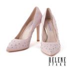 高跟鞋 HELENE SPARK 璀璨星星水鑽羊麂皮美型尖頭高跟鞋-粉
