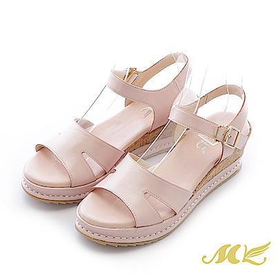 MK-台灣全真皮-素面軟木貼皮厚底楔型涼鞋-粉色