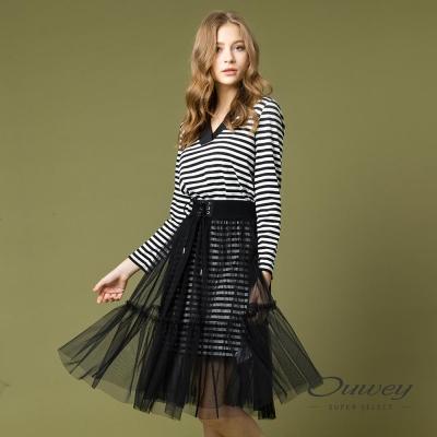 OUWEY歐薇 簡約條紋兩件式洋裝(黑)