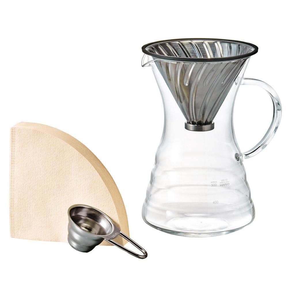 HARIO V60白金金屬濾杯咖啡壺組VPD-02HSV