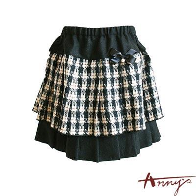 格紋小香風書層鬆緊短裙*2248黑