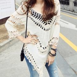 La Belleza大V領布蕾編織七分袖鏤空不規則棉麻罩衫