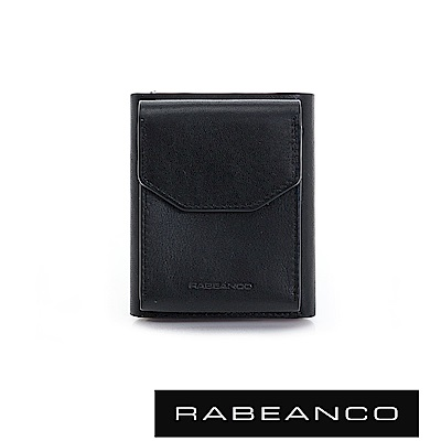 RABEANCO 摩登時尚信封零錢層設計撞色短夾 鋼琴黑