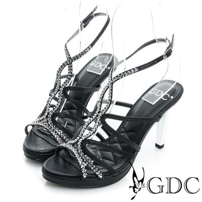GDC閃耀-水鑽細帶真皮高跟涼鞋-黑色