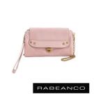 RABEANCO 迷時尚牛皮系列多卡層拉鍊手拎包長夾 粉色