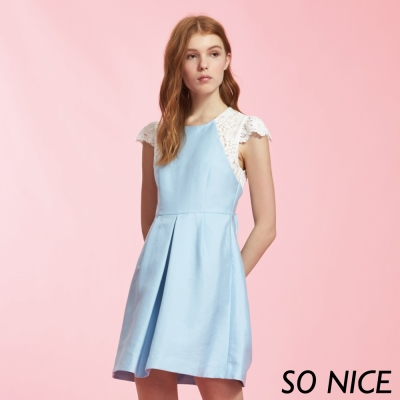 SO NICE氣質公主蕾絲袖洋裝