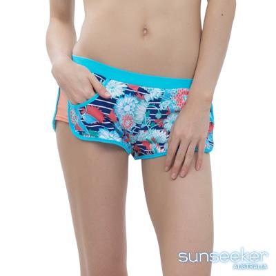 澳洲Sunseeker泳裝配品藍系花朵雙層運動泳褲