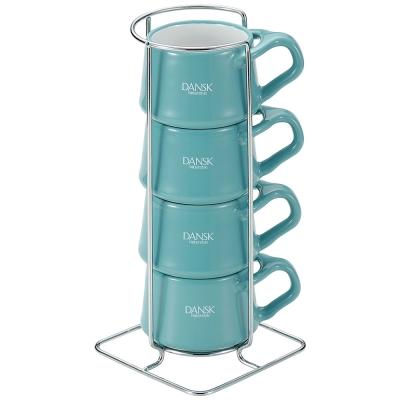 [Outlet] DANSK 陶瓷迷你馬克杯120ml(4件組●藍綠色)
