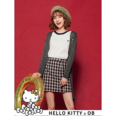 鑽石KITTY印圖高含棉開襟長版罩衫外套-OB大尺碼